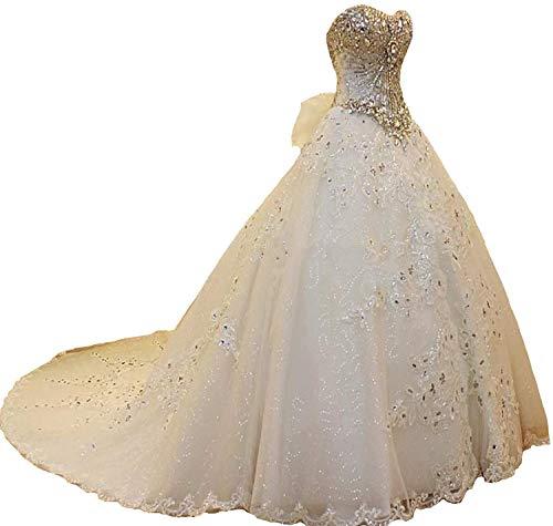 Dreammaking Damen Prinzessin Hochzeitskleider Strass Perlstickerei Brautkleider mit Schleppe Lange Elfenbein weiß
