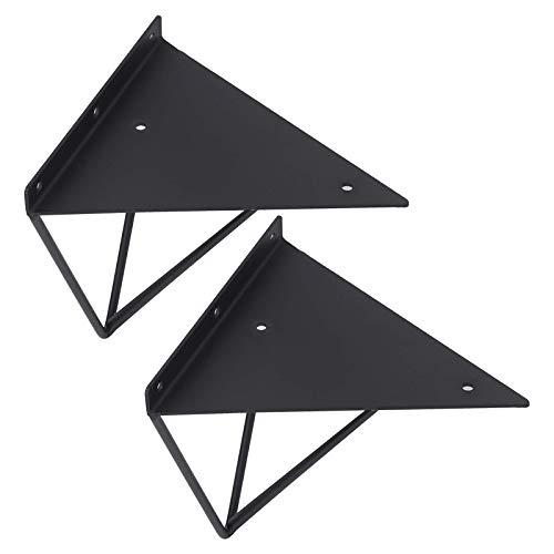 Escuadras para Estanterias,Triángulo Soporte para Estante Soporte Estantería Montados en la Pared Corner Brace, para bricolaje Estanterías Cocina Exhibición,con Tornillos,1 Pares(black14cm/5.5in)