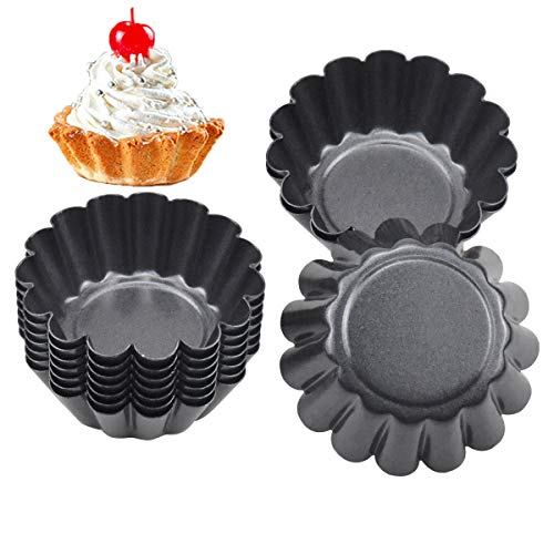 14 STK Ei Torte Form, Antihaft Tartelette Förmchen, Wiederverwendbare Törtchenformen, Kohlenstoffstahl Mini Mini Tarteform Muffin Form Törtchen für Pudding,Backen,Kuchen Werkzeug Kekse (6.5 X 2.3CM)