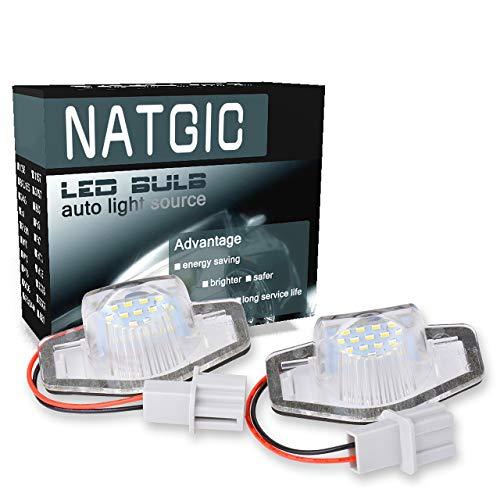NATGIC 1 Paire 9 SMD LED Plaque d'immatriculation Lumière Intégrée Can-Bus étanche Plaque d'immatriculation Lumière Numéro Plaque d'immatriculation Assemblée 12-14.5V 2W - Blanc