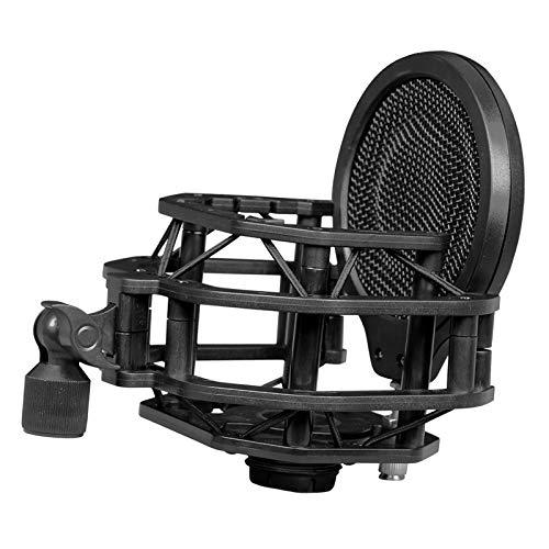 lahomia Soporte Antivibración para Micrófono con Protección de Filtro Antipop de Doble Malla