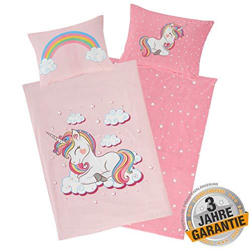 Aminata Kids Bettwäsche Einhorn 100x135, 40x60 cm Mädchen Baumwolle rosa mit YKK Reißverschluss - Wende Kinderbettwäsche - Wende-Kinder-Bettwäsche-Set - Regenbogen, Rose - Einhorn-Motiv, Pferde