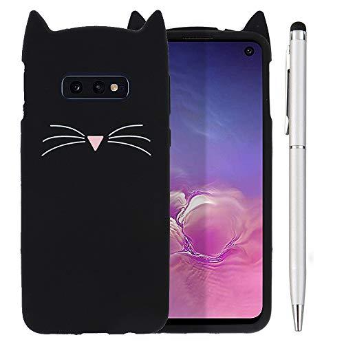 Ash-case Samsung Galaxy S10e DUOS Hülle - Handyhülle für Samsung Galaxy S10e DUOS - Handy Hülle Cover Silikon Schutzhülle schwarz +1x Stylus Touch Pen Silber