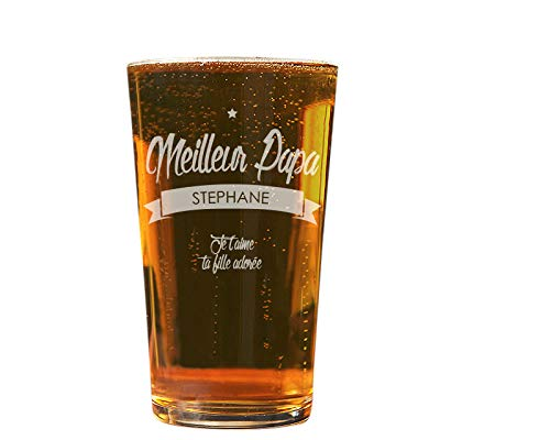 Verre à bière personnalisé - Contenance 57 cl - Meilleur Papa - Cadeau fête des pères