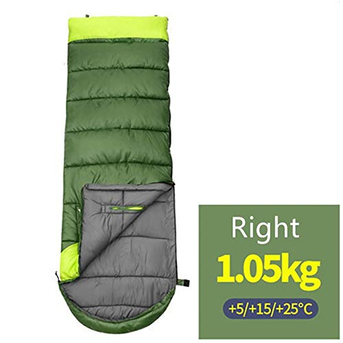 JIUYUE Duvet Sac de Couchage résistant à l'eau Zipper Voyage extérieur Coupe-Vent Couple Enveloppe Sac Backpacking Camping for l'extérieur Travelling Couchage (Color : Green 1.05kg (Right))