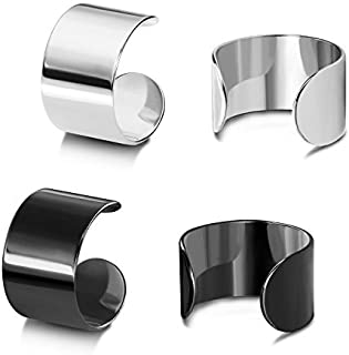 Assorted High Polished Stainless Steel Punk Rock Ear Cuff Non-Piercing Clip on Cartilage Tragus Earrings