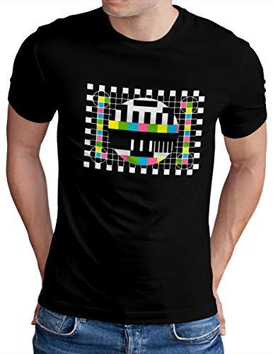 OM3® Big-Bang-Testbild T-Shirt - Herren - Retro TV Series Analoger Fernseher - Schwarz, L