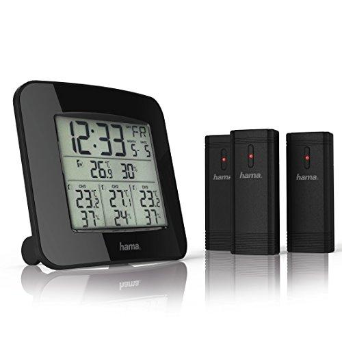 Hama Funk-Wetterstation inkl. 3 Außen-Sensoren (Thermometer, Hygrometer, Außensensoren, misst Innen- und Außen-Temperatur und -Luftfeuchtigkeit, inkl. DCF Funk-Uhr mit Wecker) schwarz
