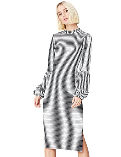 Amazon-Marke: find. Damen Kleid Balloon Sleeve, schwarz/Weiß (Black/White), 36, Label: S