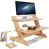 UKMASTER Mesa para Ordenador de Pie, Mesa Ordenador Bambú, de 6 Alturas Ajustables, para Monitor, Pantalla, Teclado, con Soporte para Auriculares, 66 x 46 x 48cm