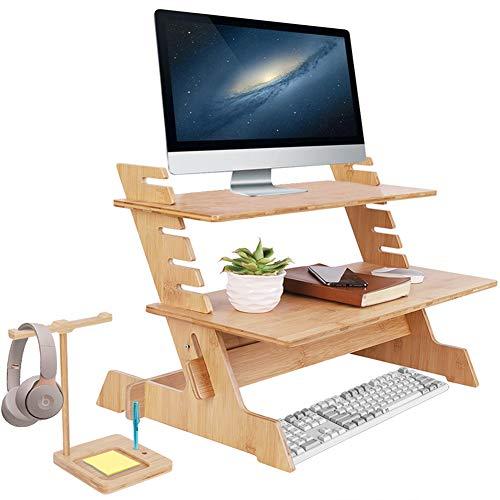 UKMASTER Standing Desk de Bambú, Soporte Monitor de 6 Alturas Ajustables para Trabajar de pie Escritorio de Pie para Monitor Pantalla Teclado con Soporte para Auriculares 66 x 46 x 48cm