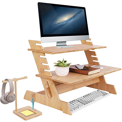 Wood Monitor Stand TV PC Laptop Bamboo Computer Desk Standing Shelf 6-Levers Height Adjustable Durable Original Wood Laptop Riser Stand with Earphone Holder for Home Offices