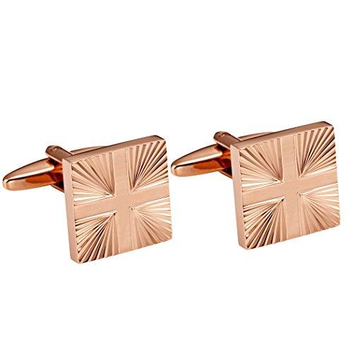 Boutons de manchette chics avec motif abstrait croix acier inoxydable 316L ton de bronze brillant pour hommes