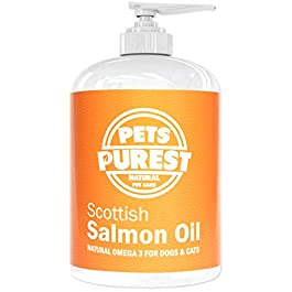 Pets Purest Scottish Salmon Oil For Dogs, Cats, Horses, Ferrets & Pets – 100% Pure Premium Food Grade – Natural Omega 3, 6 & 9 Supplement – Promotes Coat, Skin, Joint and Brain Health
