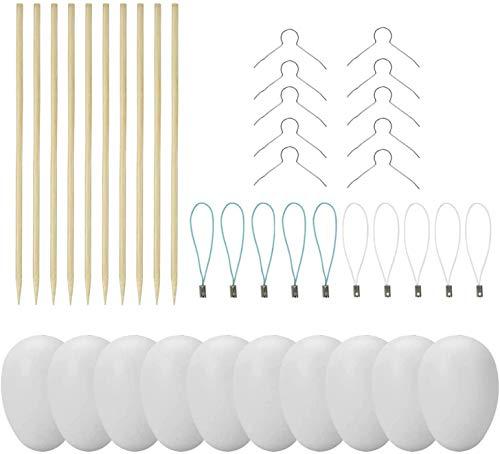25 Deko-Eier Ostern [6 cm, Kunststoff] + 25 Aufhänger für Ostereier + 10 Schaschlik-Spieße fürs Marmorierenzum oder malen, Osterdekoration