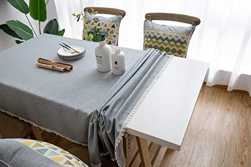 Yinaa Tovaglia da Cucina Salotto Idrorepellente Cotone Lino Morbido e Spesso Tovaglie con Trattamento Anti Macchie Formato Grande Grigio 130×180cm