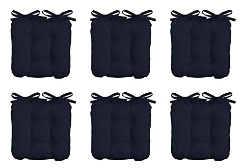 BRAVICH Indoor/ Outdoor Navy Blue Seat Pads for Dining Chair| Set of 6 | 100% Cotton Cover Chair Pads With Strap Ties| 43x43 cm