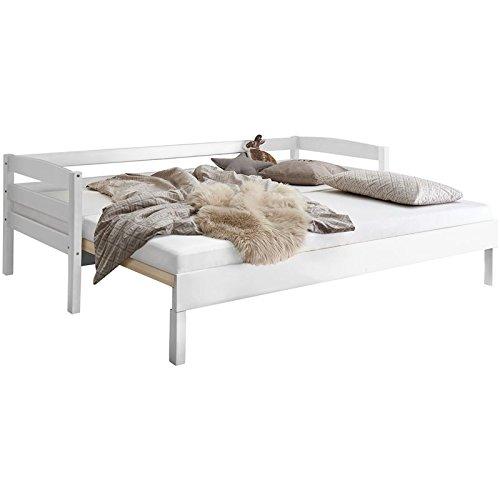 Lomado ausziehbares Funktionsbett x25CF Buche massiv weiß lackiert ● Liegefläche 2X 90x200cm ● Jugendbett Gästebett Einzelbett Doppelbett