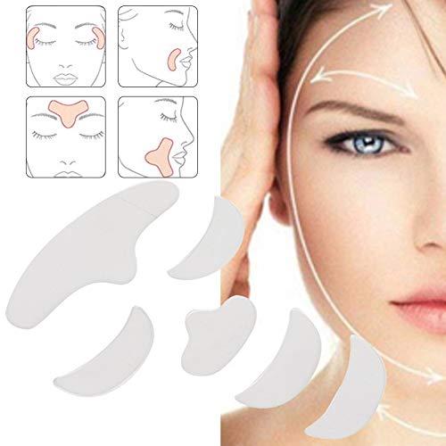 almohadillas antiarrugas de silicona, 6 piezas de silicona reutilizable para el tratamiento de arrugas en la cara tiras de prevención resistentes a las arrugas elimina las arrugas parches remo