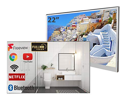 Soulaca 22 inch Bathroom TV Smart Mirror TV IP66 Waterproof Integrated with Wi-Fi and Bluetooth (2021 Model)