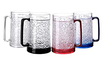 Easicozi Double Wall Gel Frosty Freezer Ice Mugs Clear Set of 4  White black red and blue