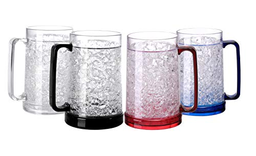 Easicozi Double Wall Gel Frosty Freezer Ice Mugs Clear Set of 4 (White black red and blue)