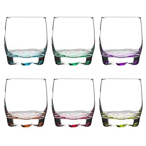 Unishop Set de 6 Vasos de Agua y Whisky Colores, Vasos de...