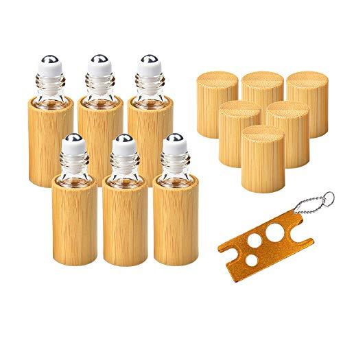 6 Stück Roll On Flaschen für ätherisches Öl mit Bambusschale, MERYSAN 5ml Nachfüllbarer Leer Behälter mit Edelstahl-Roller Kugeln, Roller Ball Flaschen Container für Aromatherapie Duftstoff