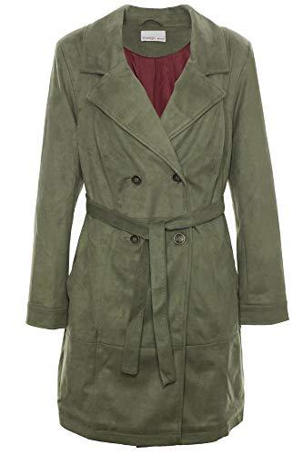 Sheego Trenchcoat Kurzmantel Mantel Velourslederoptik Jacke Damen Plusgröße, Damengrößen:48, Farbe:Khaki