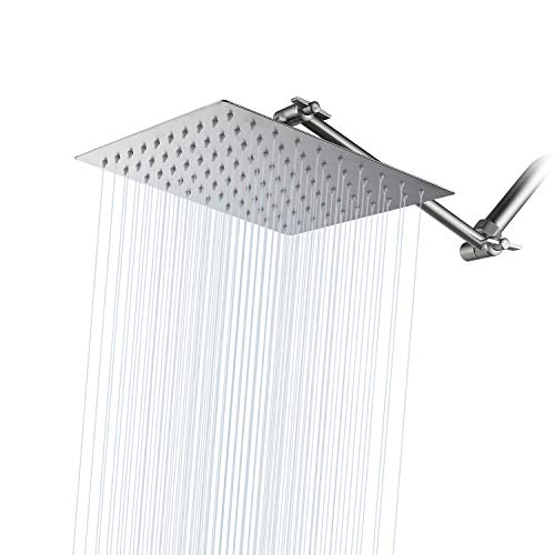 High Pressure Shower Head Brushed Nickel GGStudy 8 Inches Square Rain Showerhead with 11 Inches Adjustable Extension Arm Stainless Steel Ultra Thin Rainfall Bath Shower