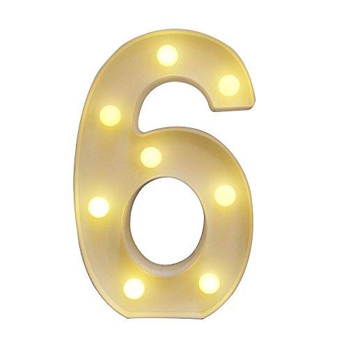 HiveNets LED Decorativos Números Iluminados 0-9 Números Arábigos para el Cumpleaños Fiesta de Bodas Decoración de la Barra Dormitorio colgante de pared 6