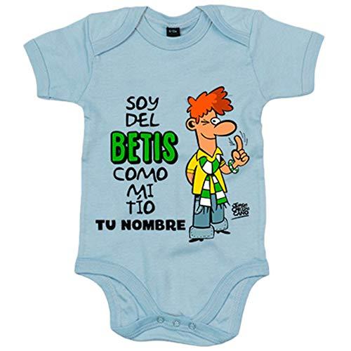 Body bebé frase soy del betis como mi tio personalizable con nombre ilustrado por Jorge Crespo Cano - Celeste, Talla única 12 meses