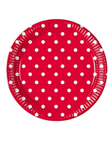 Procos Pappteller Rot mit weißen Punkten Groß 23cm
