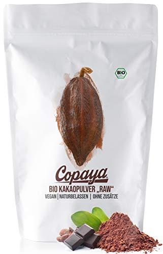 Copaya Kakaopulver BIO 1Kg, Rohes Kakao Pulver aus biologischem Anbau, Ohne Zucker, Unverwechselbares & Intensives Aroma, Aus Hochwertigen Kakaobohnen, 11% Fett, Stark Entölt, 1000g