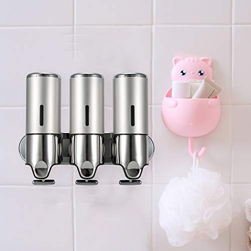 Good Shopping Dispensador de jabón Soap Dispensers Dispensador De Jabón Líquido Manual Dispensador De Champú para Pared para Hotel De Baño Público con 3 Tazas De Plata para baño de Cocina
