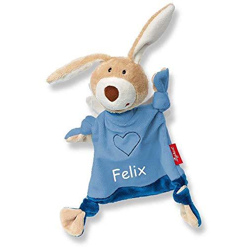Sigikid Schmusetuch 42375 Schutzengel hellblau mit Namen Bestickt Baby Geschenk zur Geburt Schnuffeltuch