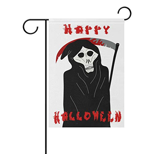 My Little Nest Double Sided Flag Happy Halloween Grim Reaper with a Scythe House Garden Flag Yard Seasonal Holiday Outdoor Decoration Banner 12x18