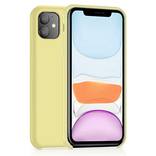 AHABIPERS Liquid Silikon Hülle Kompatibel mit iPhone 11 Handyhülle, Cover Case Schutzhülle Kratzfeste mit Schock Absorption und Anti Scratch Handyhülle für iPhone 11-6.1 - Gelb