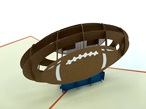 PopLife Football 3D Pop Up Greeting Card for All Occasions - Sports Lovers, Sideline Fans, Tailgate Pros - Folds Flat for Mailing - Birthday, Coach's Gift, Graduation, Father's Day, Anniversary