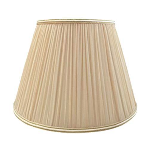 E27 Pantalla de Lino Redonda con Pliegues Lámpara de Mano 100% Pura Pantalla de lámpara Lámpara de Noche Lámpara de Pared Lámpara de pie Pantalla de Tela Champagnec de Luces en casa