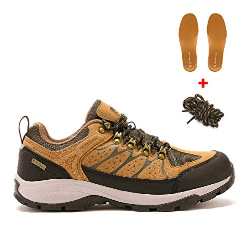 AQUA SOFTSHELL Men's Waterproof Hiking Shoes Lightweight Non-Slip Low-Cut Trekking Hiking Sneakers Outdoor Backpacking Camping Climbing Shoes for Men-Brown (Free Extra Insoles & Shoe-Laces Included)