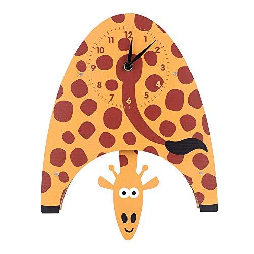 ZFYM Soggiorno Orologio della Decorazione della casa del Fumetto Orologio Animali a Dondolo Giraffa Clock MDF per Bambini Parete di Legno Orologio da Parete