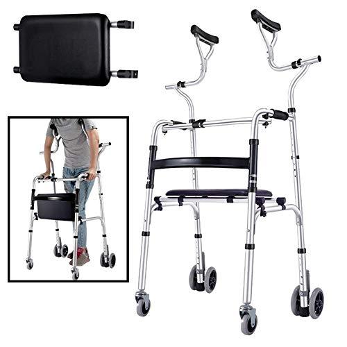 HYRGLIZI Senioren-Walker mit Achselstütze und Rädern, leichtem, höhenverstellbarem Rollator für Erwachsene, Faltbarer progressiver Mobilitätshilfe aus Aluminium (Größe: Walker + Sitz)