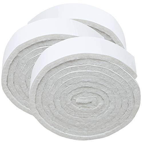 Adsamm® | 3 x selbstklebende Filzbänder zum Zuschneiden | 19x1000 mm | Weiß | Rolle | 3.5 mm starker selbstklebender Filzzuschnitt in Top-Qualität
