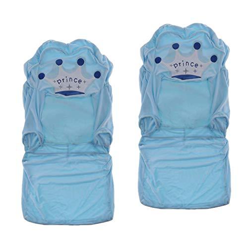 Amuzocity 2 Piezas Elástico Azul Corona Silla Cubierta de Sofá Funda de Asiento para Niños Antideslizante