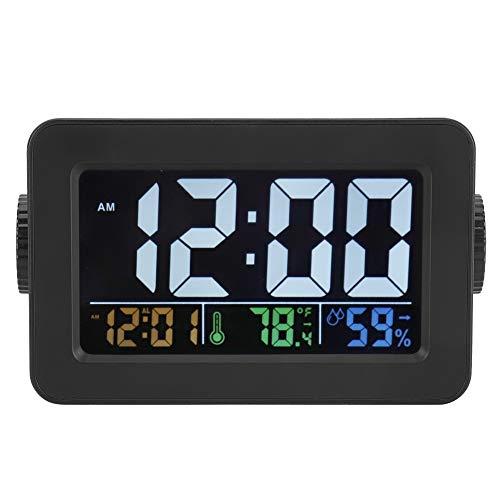 GJHBFUK Reloj de Pared Reloj De Alarma Electrónico con Pantalla De Temperatura Y Humedad Y Puerto De Carga De Control De Luz 100-240V