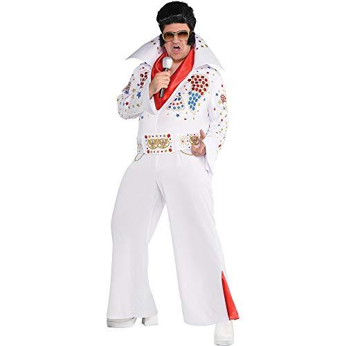 amscan 847479-55 - Disfraz de Elvis con cinturón blanco y bufanda roja, talla grande, 1 unidad, Multi, XXL