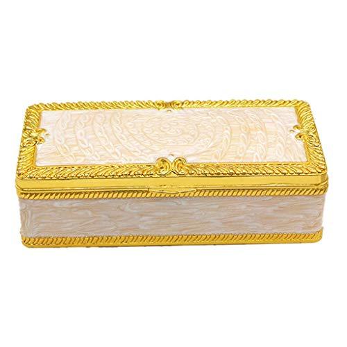 Backbayia - Maletín de almacenamiento con caja de tesoro de estilo antiguo para collar, anillo y pendientes, color dorado