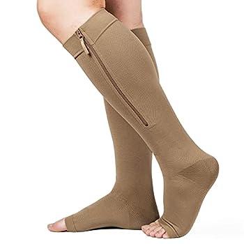 Zipper Compression Socks 20-30mmHg Open Toe Compression Socks with Wide Calf