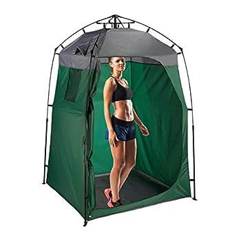 Relaxdays Tente de Douche Camping, XXL, Cabine d?essayage pour Camping & Jardin, 275 x 156,5 x 154 cm, Vert foncé/Gris